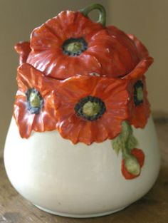 Red Poppy Royal Bayreuth Biscuit Cookie Jar Canister with lid