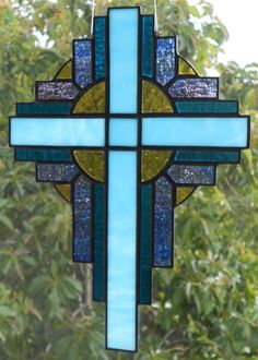 Stained Glass Cross $37 (10x7) https://www.etsy.com/listing/128802223/stained-glass-cross-suncatcher-turquoise?ref=shop_home_active