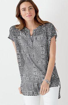 513fc97590 J. Jill Printed Cap-Sleeve Tunic