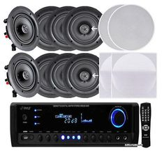 "4 Pairs of 150W 5.25"" In-Wall / In-Ceiling Stereo White Speakers w/ 300W Digital Home Stereo Receiver w/ USB/SD/AUX Input, Remote w/ 4 Channel High Power Stereo Speaker Selector, 4 Volume Controls & 250 ft. Wire"
