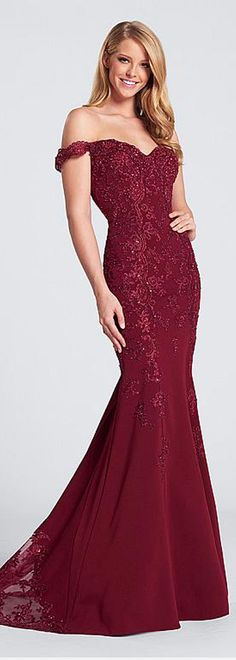 Formal Acetate Satin Off-the-shoulder Neckline Mermaid Evening Dresses With Beaded Lace Appliques