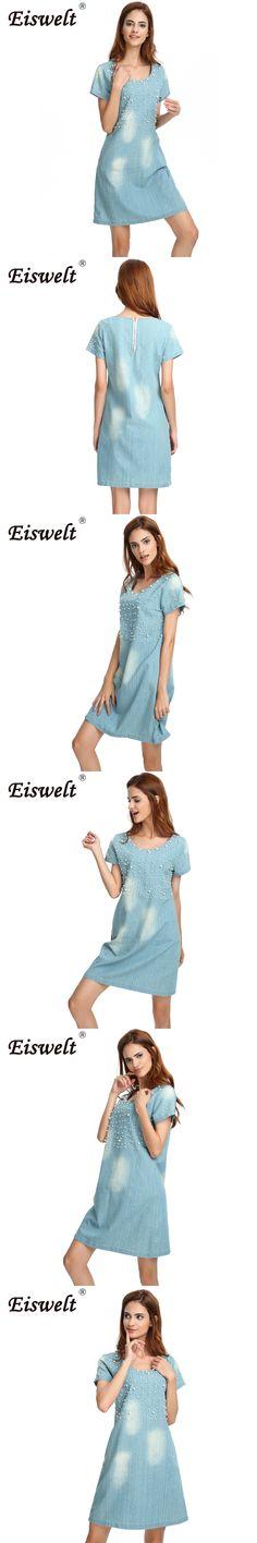 ddafe64d5d EISWELT Plus Size 5XL Dress Women Jeans Sundress Women s Casual Denim Dress  Vestido Summer Style Beaded Party Tunic Dresses