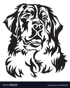 Dog Tattoo Decorative portrait of Bernese Mountain Dog vector illustration.Dog Tattoo Decorative portrait of Bernese Mountain Dog vector illustration Dog Stencil, Animal Stencil, Stencils, Bernese Mountain Dogs, Dog Silhouette, Mountain Silhouette, Silhouette Painting, Dog Vector, Best Dog Breeds