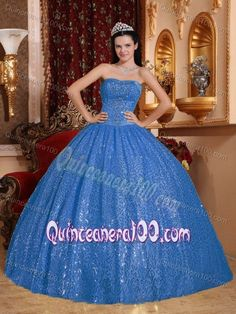 Beaded Strapless Blue Sweet Sixteen Dress with Sequins Over Skirt