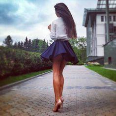 navy blue skater skirt/classy outfit