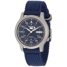Seiko SNK807 5 Men's Blue Canvas Strap Blue Dial Automatic Day Date Steel Watch,    #Seiko,    #SeikoSNK807