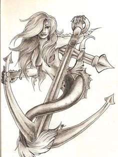""" Mermaid With Anchor "" I'm liking her hair/face, not so much the positioning or tail/hands"