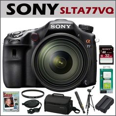 Sony DSLR SLTA77VQ 24.3MP Digital SLR Camera & 16-50MM Lens + Sony 32GB Class 10 SD Memory Card + Accessory Kit by Sony. $1998.00. With the world's fastest continuous shooting speed at 12fps (as of August 2011), SLT-A77 delivers astounding image quality at an ultra-high 24.3MP. Thanks to Sony's revolutionary Translucent Mirror technology, now you can enjoy unrivalled performance even while shooting Full HD movies. Sony ?77 is set to revolutionise interchangeable lens ph...