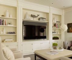Living Room Update, Living Room Tv, Home And Living, Built In Tv Wall Unit, Built In Shelves Living Room, Hamptons Style Homes, Muebles Living, Home Bar Designs, Hampton Style