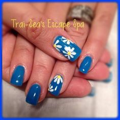 Blue with Hand painted Daisies by TraiSeasEscape - Nail Art Gallery nailartgallery.nailsmag.com by Nails Magazine www.nailsmag.com #nailart