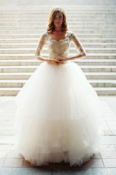 Love this light-as-air ballgown for a fall or winter wedding | Gown by Sareh Nouri