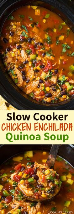 Slow Cooker Chicken Enchilada Quinoa Soup – A go to recipe for me! So easy to ma… Slow Cooker Chicken Enchilada Quinoa Soup – A go to recipe for me! So easy to make and so delicious! Crock Pot Slow Cooker, Crock Pot Cooking, Slow Cooker Chicken, Slow Cooker Recipes, Crockpot Recipes, Soup Recipes, Chicken Recipes, Cooking Recipes, Healthy Recipes