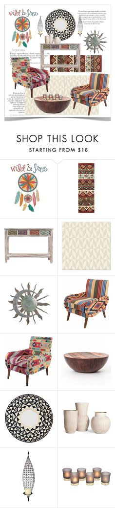 """""""aztec"""" by angelicallxx ❤ liked on Polyvore featuring interior, interiors, interior design, home, home decor, interior decorating, WallPops, Southern Enterprises, West Elm and Home Source International"""