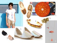 Today's first French Selection is 'Blue Lemonade' and features blue colors, shell shades and funny stuffs for a chic but funky lemonade.  Time to share them with you: shinning leather flats by Anne Thomas, jewelry by Mili l'Amour and Marion Vidal, cool tee-shirts by Sézane, Etre Cécile and Maison Kitsuné… Refreshing clutch by Sarah's Bags (ok, not a french one but it was too cute!), or more classic, Avril Gau…