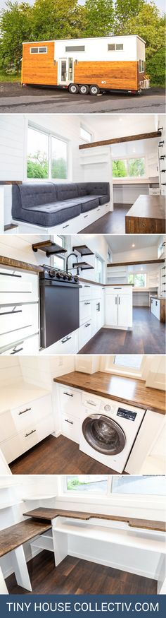 The Modern One: a tiny house with a home office, kitchen, and spacious living area!