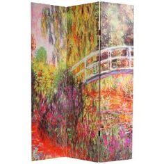 6ft. Monet Paintings Art Prints Room Dividers - Papavaris & Bridges Japonais at Giverny - 2 Sizes
