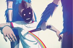 I bleed rainbows, dirty bit.      Raccoon Nook is an illustrator and designer based in Brooklyn, New York. His universe takes its cues from anime, the urban landscape and space travel. We're especially drawn to the ethereal glowing quality radiating from each of his images. Nook is also an art director atSüperfad NYC.