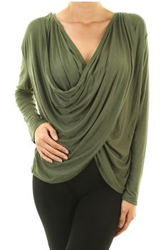 Super soft and hot fall color!! Olive green long sleeve ultra soft front wrap top.  $26