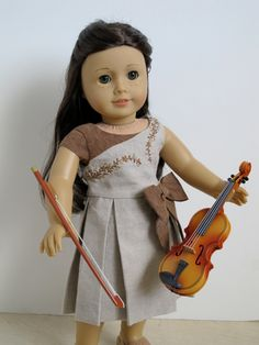 18 inch American Girl Doll Clothing Linen dress- Melody Valerie Couture Pattern. $45.00, via Etsy.