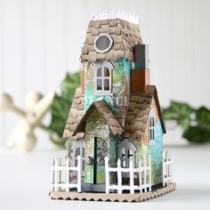 Shari Carroll is back for another fun tutorial! Tim Holtz Village Dies: The Mansion! 3d Paper Crafts, Scrapbook Paper Crafts, Diy Paper, Fun Crafts, Scrapbooking, Tim Holtz, Tiny House Village, Village Houses, Putz Houses