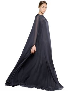 Valentino Silk Chiffon Cape Dress