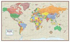 Swiftmaps World Contemporary Elite Wall Map Folded Paper 24h x 36w