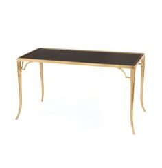 This sleek table would work well as a low-profile desk or as a console table. Adds a regal touch to your room with its black marble top and curved gold legs.