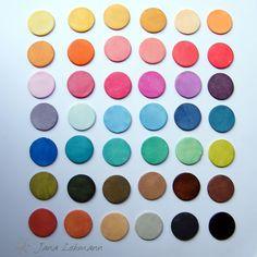 Jana Lehmann  colorbox chalks on white polymer clay