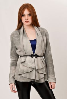 Love the drape!    Tie dye cardigan, felt wrap jacket, Summer Cardigan grey eco friendly hand dyed tones with gradations // Ready to ship //. $150.00, via Etsy.