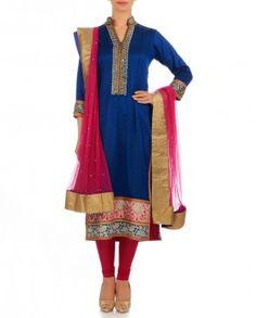 Dazzling Blue Kurti with Zari Embroidery