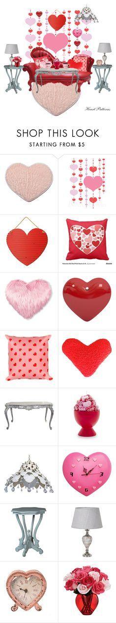"""Heart patterns...Sitting Room"" by beleev ❤ liked on Polyvore featuring interior, interiors, interior design, home, home decor, interior decorating, Sur La Table, Fitz & Floyd and bedroom"
