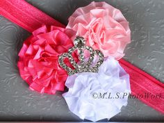 The Little Princess Headband - Baby Girl Pink Princess Birthday Hair Bow - Pink & White with Tiara Crown Rhinestone - Made to Order. $7.00, via Etsy.