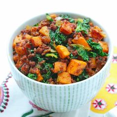 Chorizo, Kale, & Sweet Potato Hash. I make this almost once a week because I love it so much! I top it with a fried egg for extra protein for baby and me.