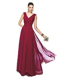 Pronovias > NERVA - Long, red, draped cocktail dress. Pronovias 2015