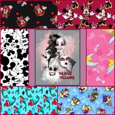 New Disney Flannel and Cotton Fabrics. Villains, Ariel, Minnie and Mickey!