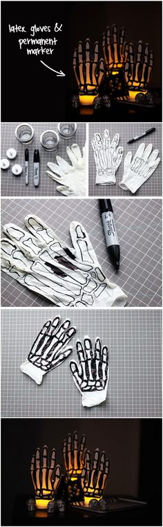Spooky Glowing Skeleton Hands. A few latex gloves and a permanent marker are all you need for these stunning glowing skeleton hands.
