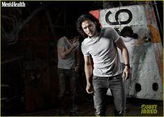 Kit Harington's Muscles Bulge Out of His Shirt for 'Men's Health UK' April 2014 | kit haringtons bulging biceps mens health uk april 2014 02...