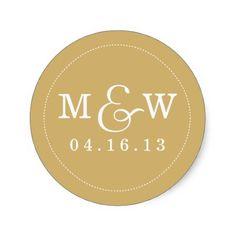 Charming Wedding Monogram Sticker - Gold . #monogram #vintage #cute #elegant #wedding #date #label #initials #white #gold #round #sticker...