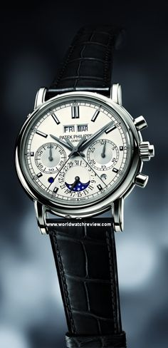 Patek Philippe Split-Seconds Chronograph and Perpetual Calendar hand-wound watch in platinum (Ref. 5204) very expensive