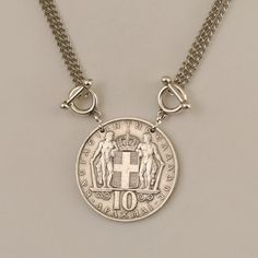 Greek Coin Jewelry Necklace 1968 Drachmai by donnakbaker on Etsy, $34.00
