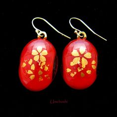 Gold Leaf Cherry Blossoms, Red Fused Glass Cabochon, Handmade Earrings | Umeboshi - Jewelry on ArtFire
