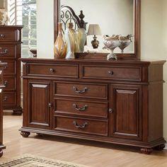 Landaluce Transitional Style Antique Dark Oak Finish Bedroom Dresser