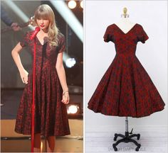 Rococo Vintage 'Red and Black Lace Party Dress' - no longer available