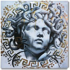 By Danny Doya #art #Painting #gold #medusa #snakes