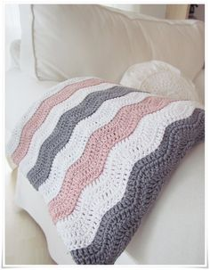 Pink, grey and white crochet blanket. - I want my grandma to make miss Payton one!