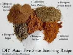 DIY Asian Five Spice Seasoning Recipe One Hundred Dollars a Month is part of Seasoning recipes I've recently become obsessed with fivespice powder I use it constantly on vegetables and even when - Asian Seasoning, Seasoning Mixes, Ramen Noodle Seasoning Recipe, Fried Rice Seasoning, Seafood Seasoning, Homemade Spices, Homemade Seasonings, Homemade Hair, Dry Rubs