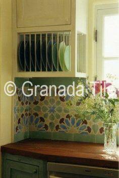 Cement tile kitchen backsplash in Alhambra design by Granada Tile