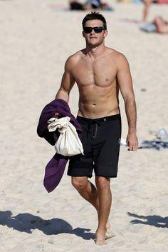 Scott Eastwood went shirtless while at Sydney's Bondi Beach.