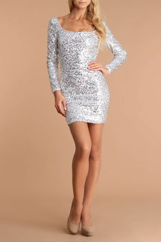 plunging back tie sequin dress in silver