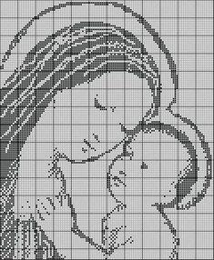 Schema n. 2 per uncinetto filet Madonna con bambino Questo schema è stato realizzato da me. L'ho anche realizzato per un quadre...